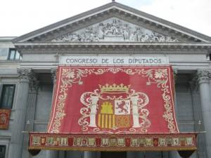 ¿Tapiz o edredón?-Baldaquino en Las Cortes, Parlamento español. Madrid